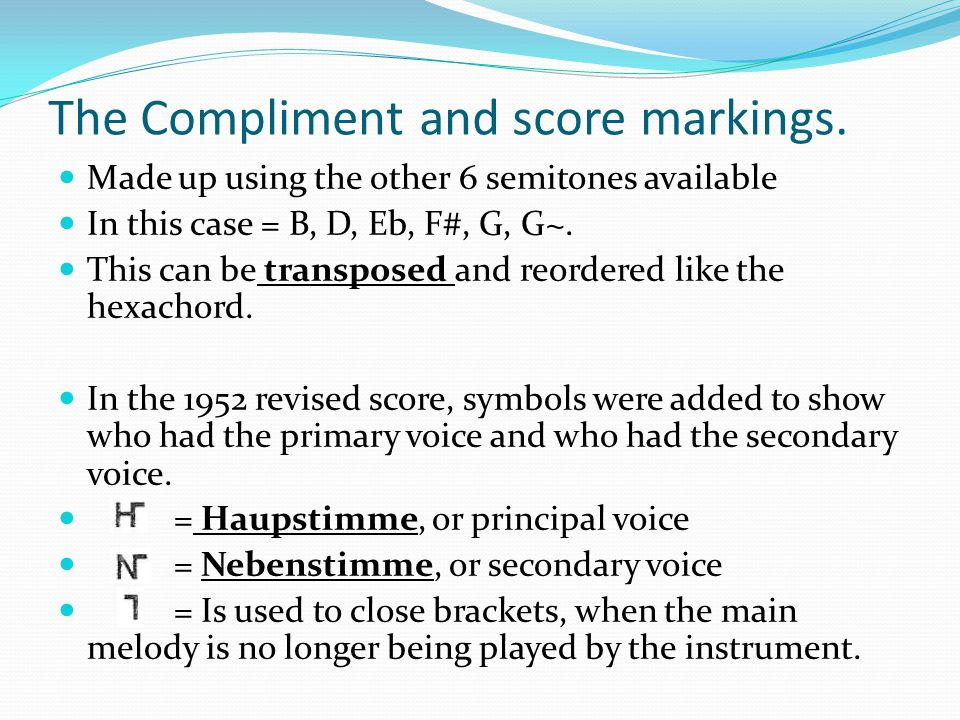 The Compliment and score markings.
