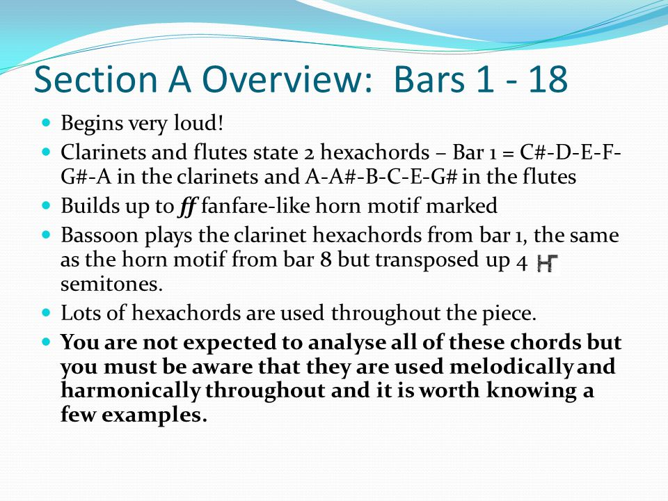 Section A Overview: Bars 1 - 18