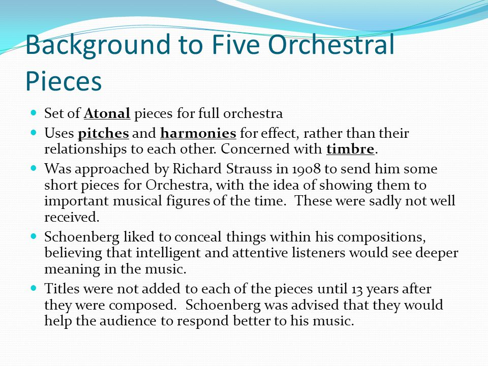 Background to Five Orchestral Pieces