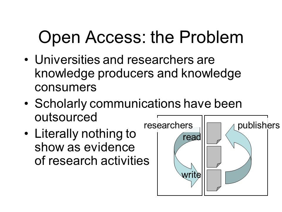 Open Access: the Problem