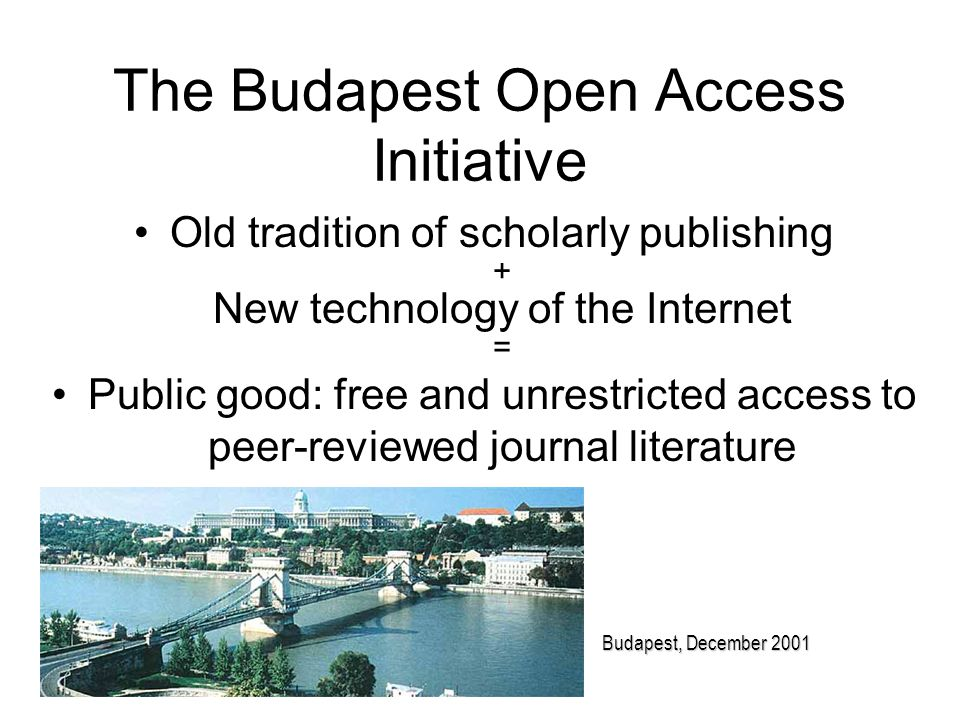 The Budapest Open Access Initiative