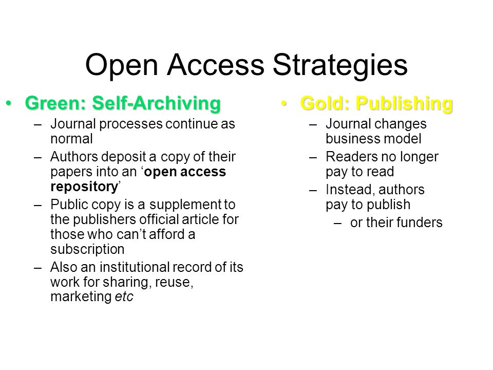 Open Access Strategies