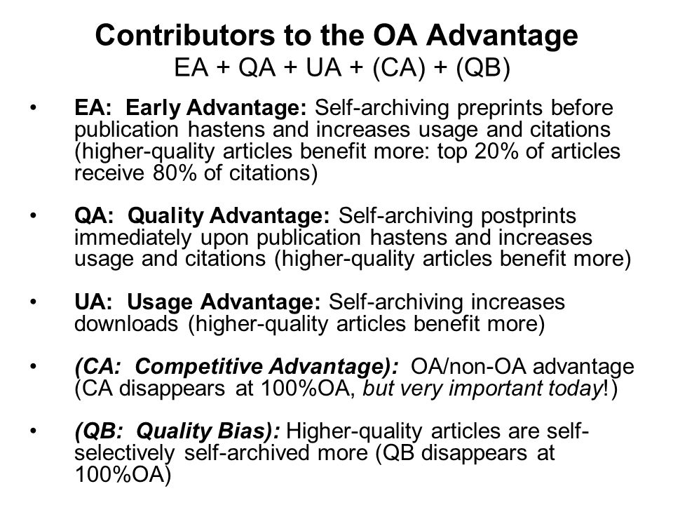 Contributors to the OA Advantage EA + QA + UA + (CA) + (QB)