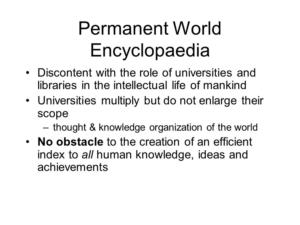 Permanent World Encyclopaedia