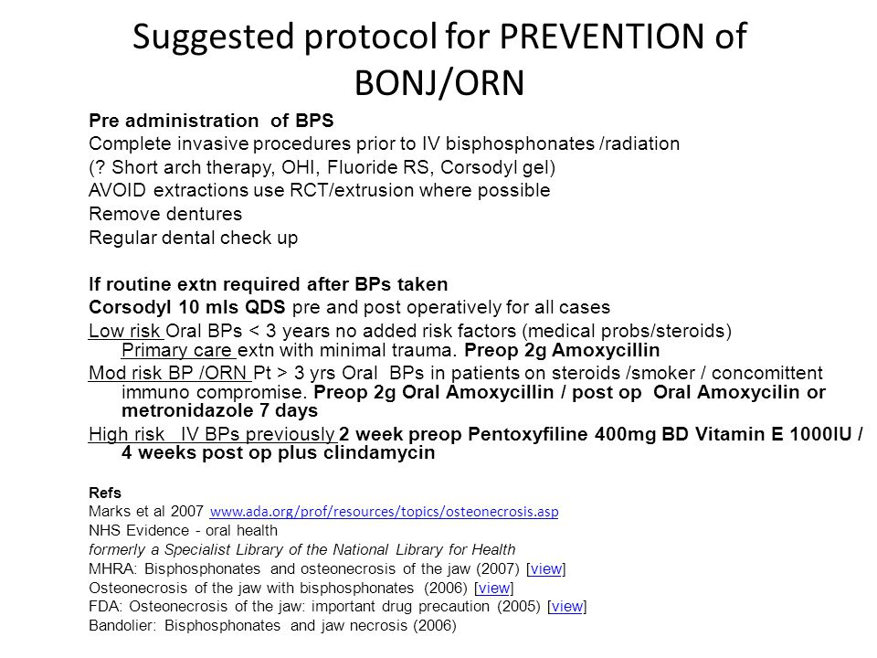 Suggested protocol for PREVENTION of BONJ/ORN