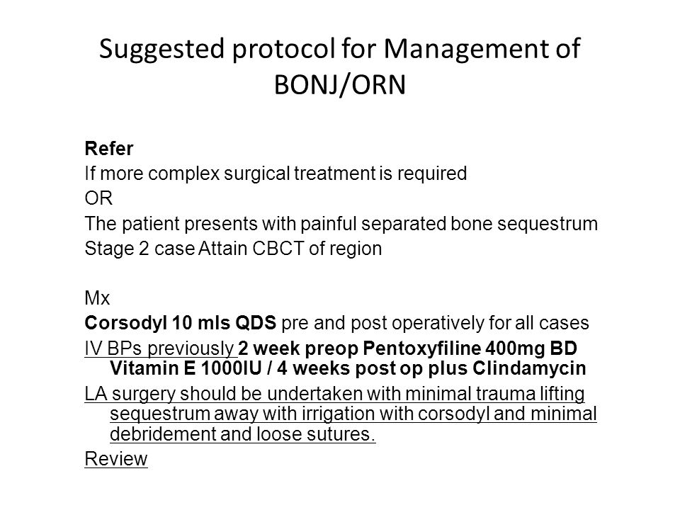 Suggested protocol for Management of BONJ/ORN