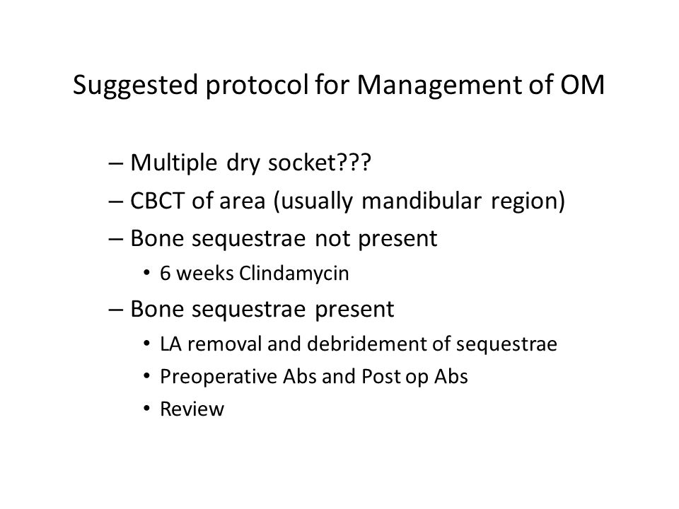 Suggested protocol for Management of OM