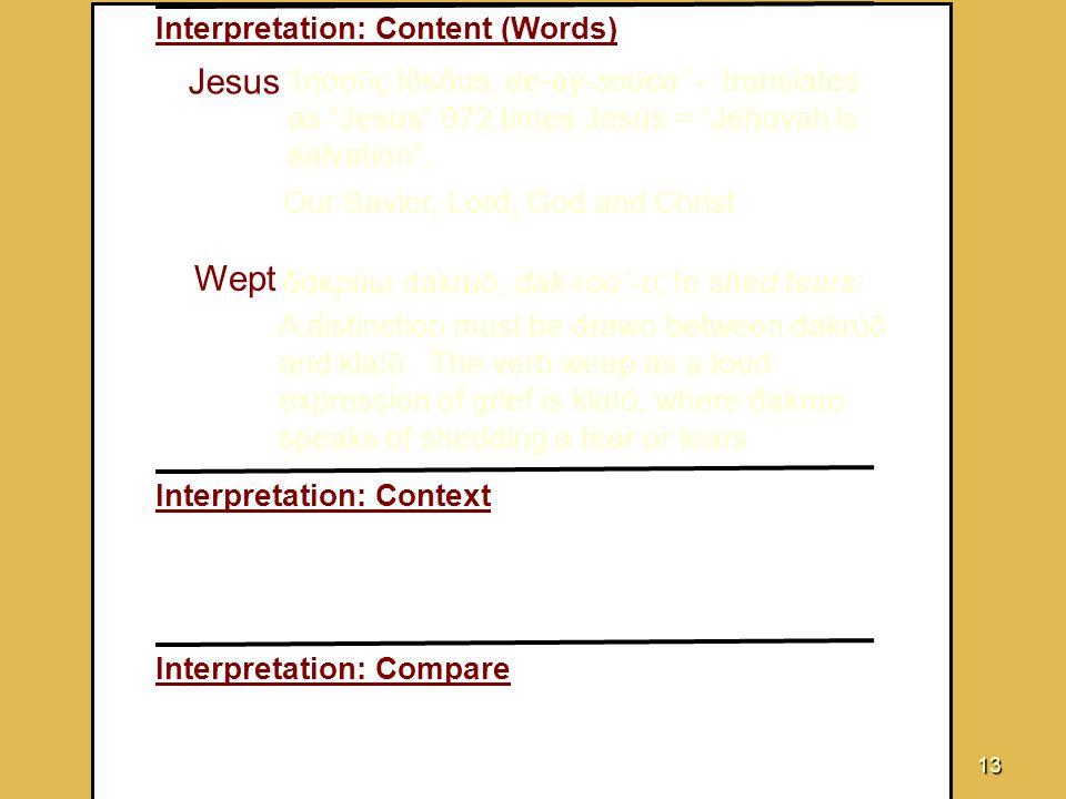 Jesus Wept Interpretation: Content (Words)