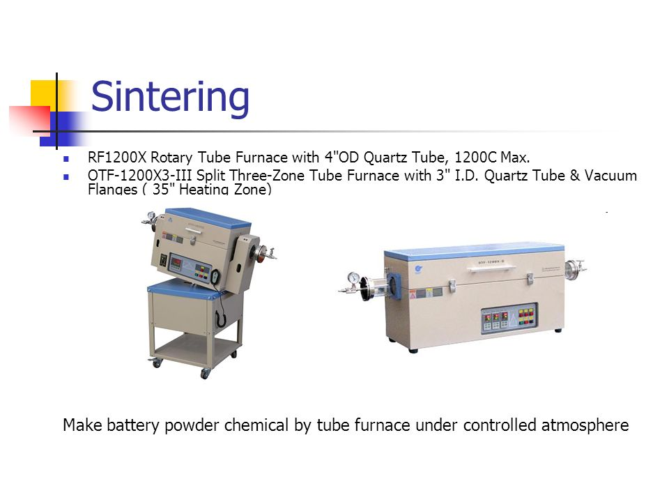 Sintering RF1200X Rotary Tube Furnace with 4 OD Quartz Tube, 1200C Max.