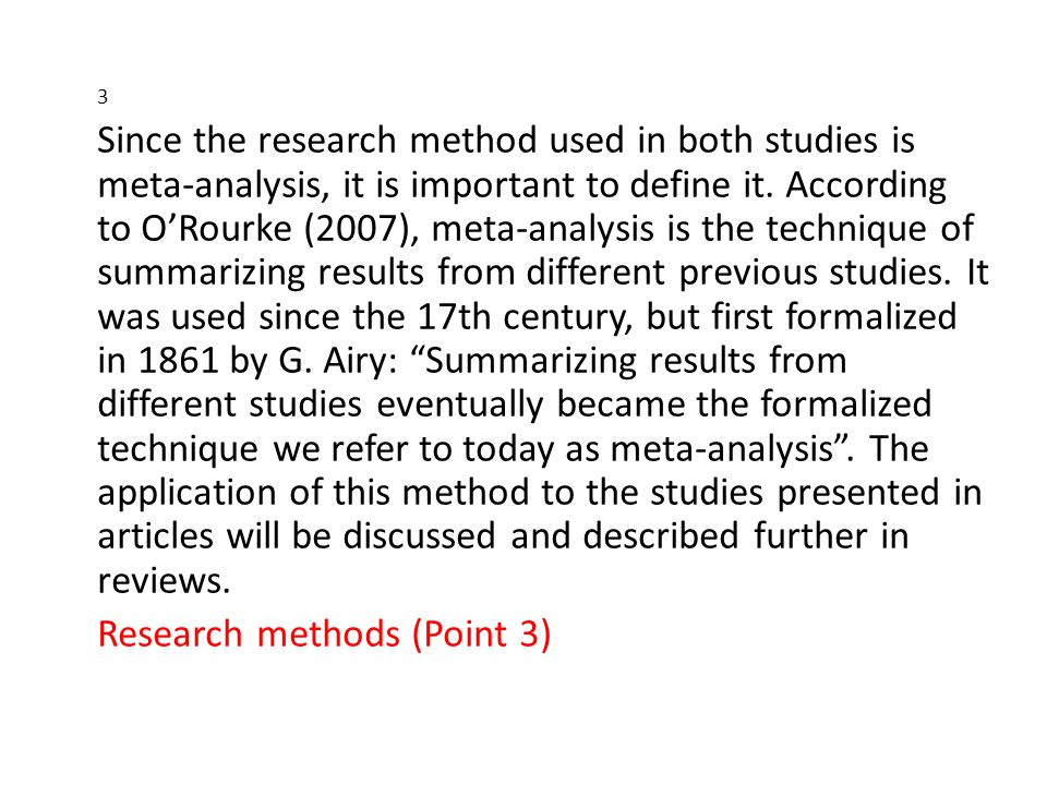 Research methods (Point 3)