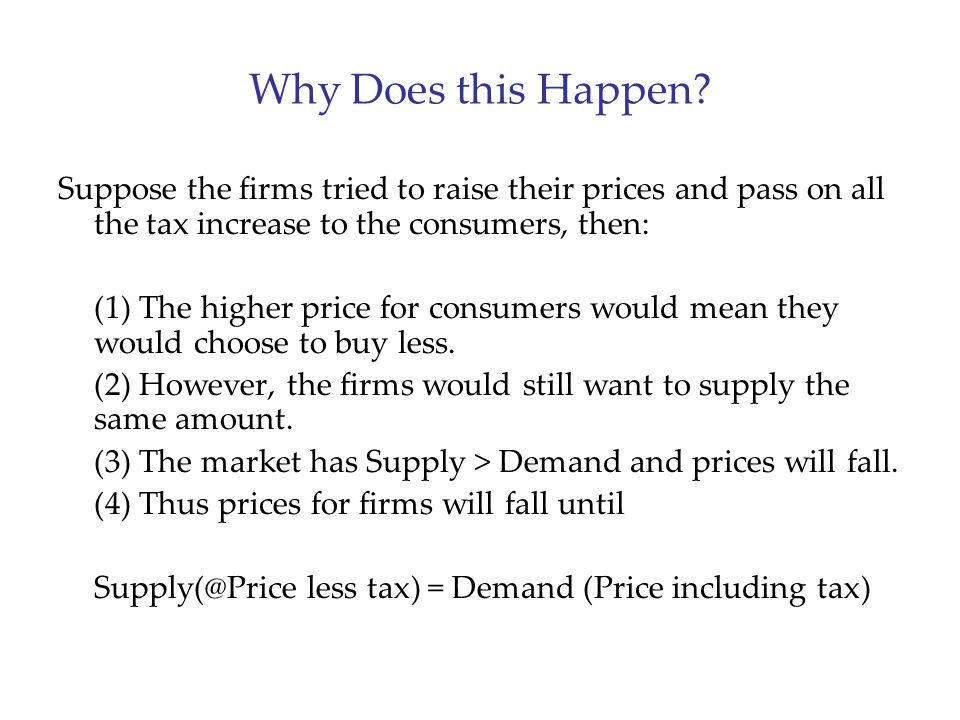 Why Does this Happen Suppose the firms tried to raise their prices and pass on all the tax increase to the consumers, then: