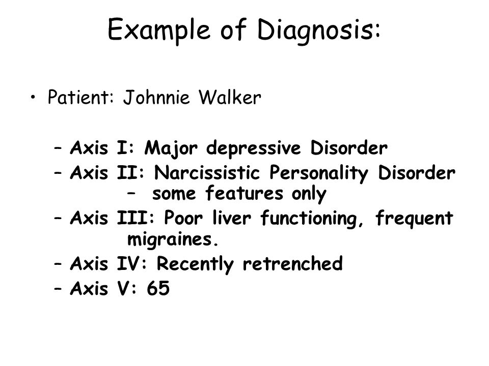 Example of Diagnosis: Patient: Johnnie Walker