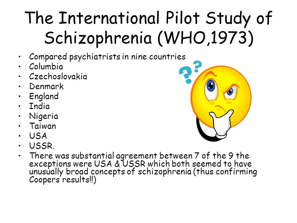 The International Pilot Study of Schizophrenia (WHO,1973)