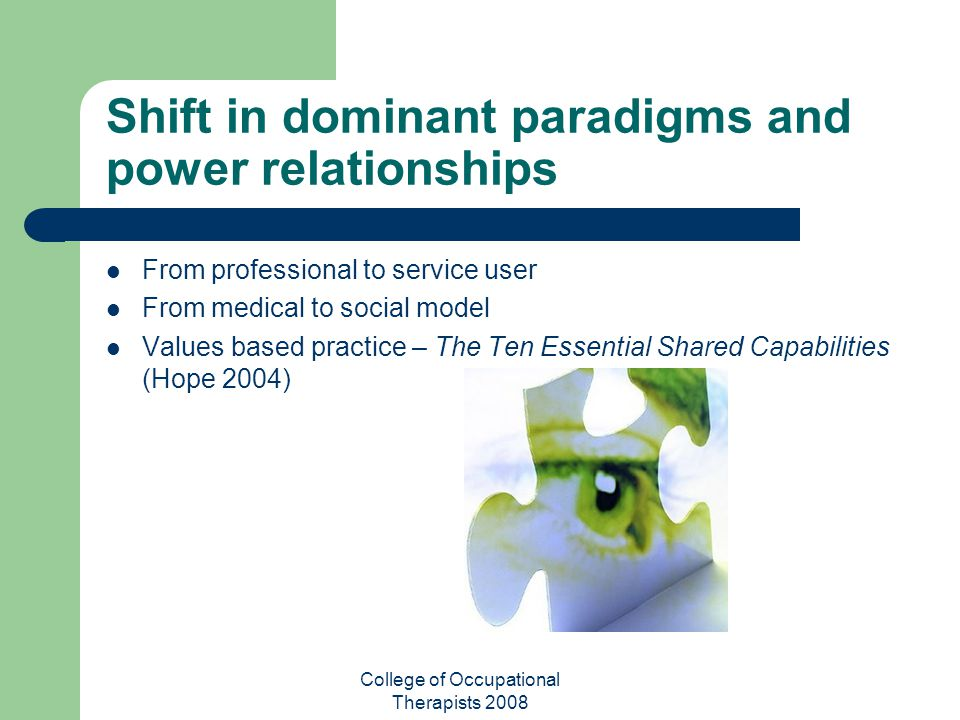 Shift in dominant paradigms and power relationships