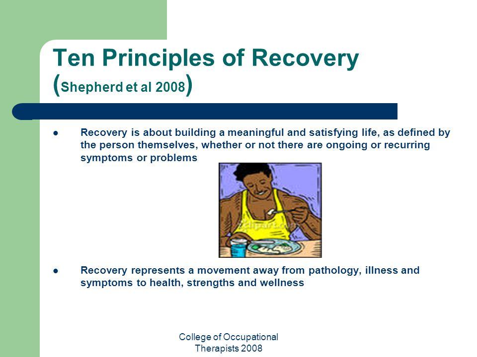 Ten Principles of Recovery (Shepherd et al 2008)