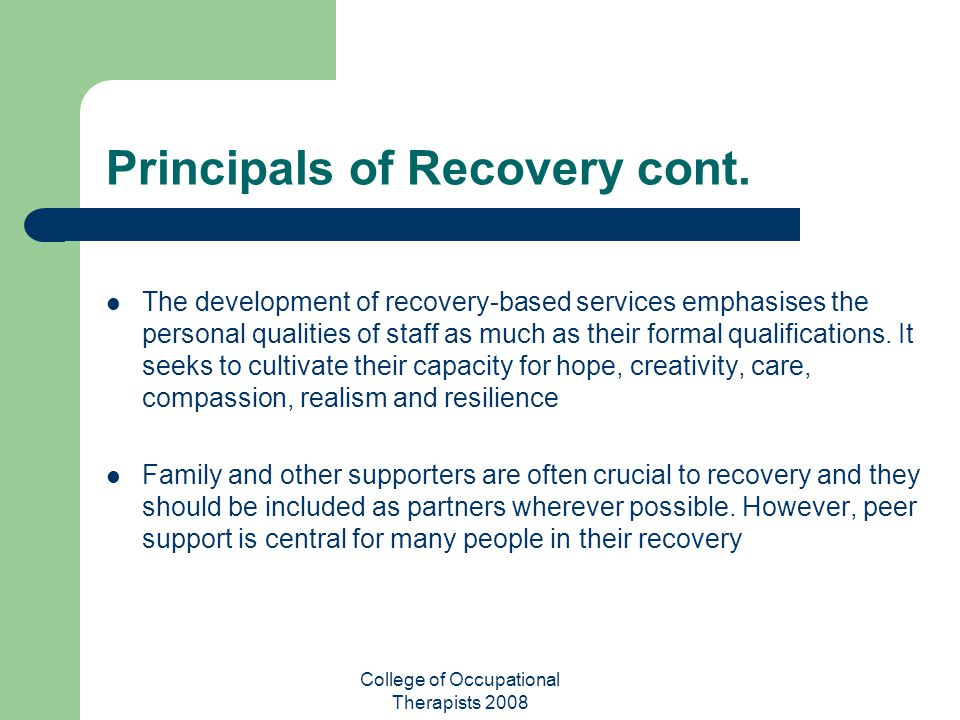 Principals of Recovery cont.