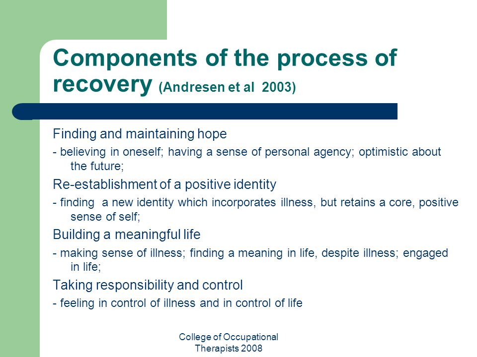 Components of the process of recovery (Andresen et al 2003)