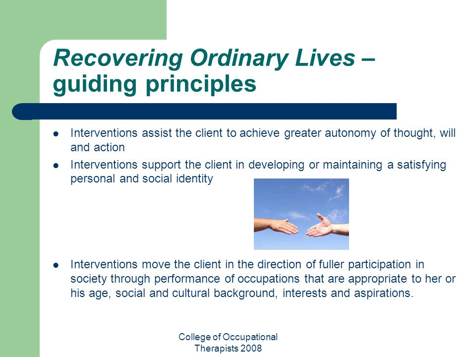 Recovering Ordinary Lives –guiding principles