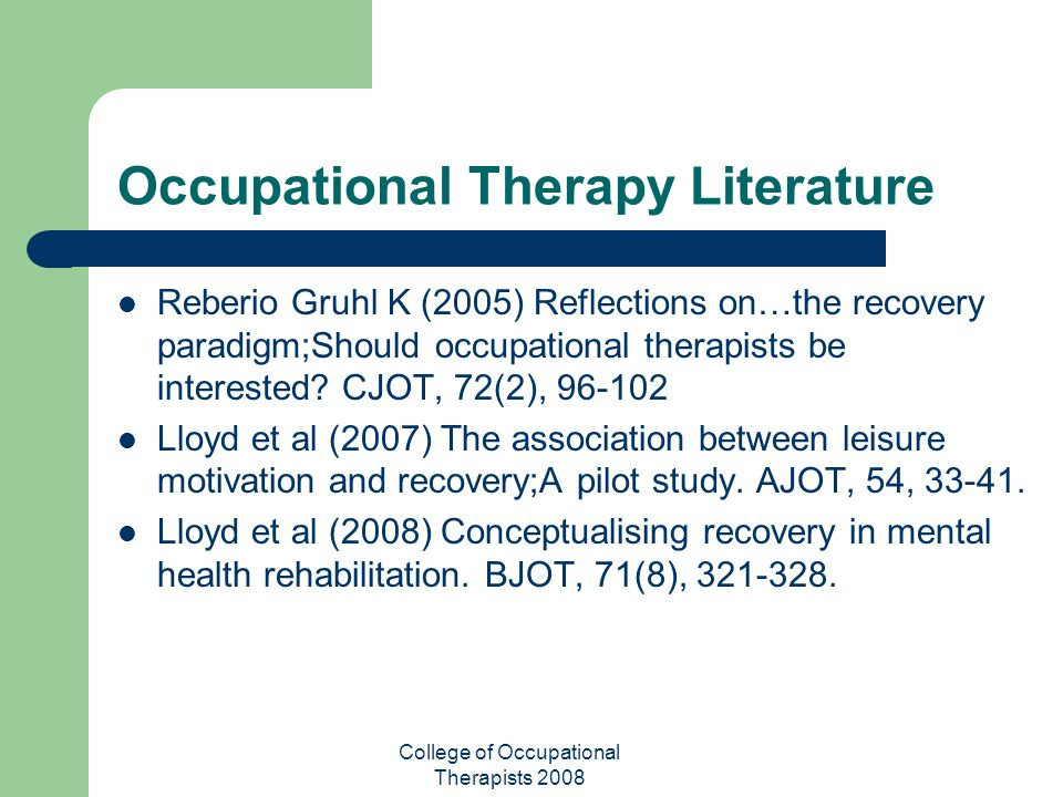 Occupational Therapy Literature