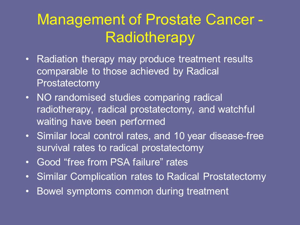 Management of Prostate Cancer - Radiotherapy