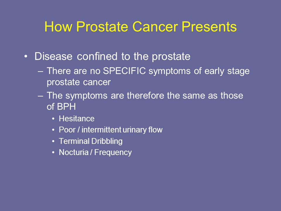 How Prostate Cancer Presents