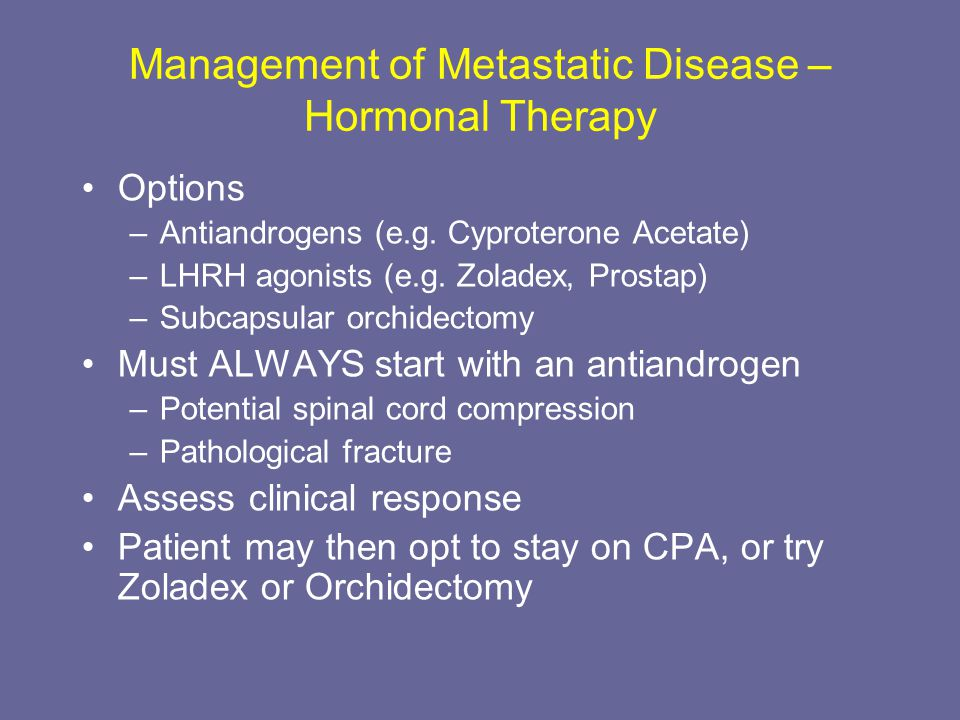 Management of Metastatic Disease – Hormonal Therapy