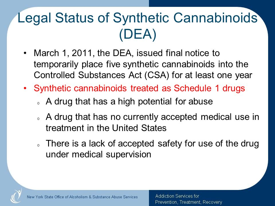 Legal Status of Synthetic Cannabinoids (DEA)
