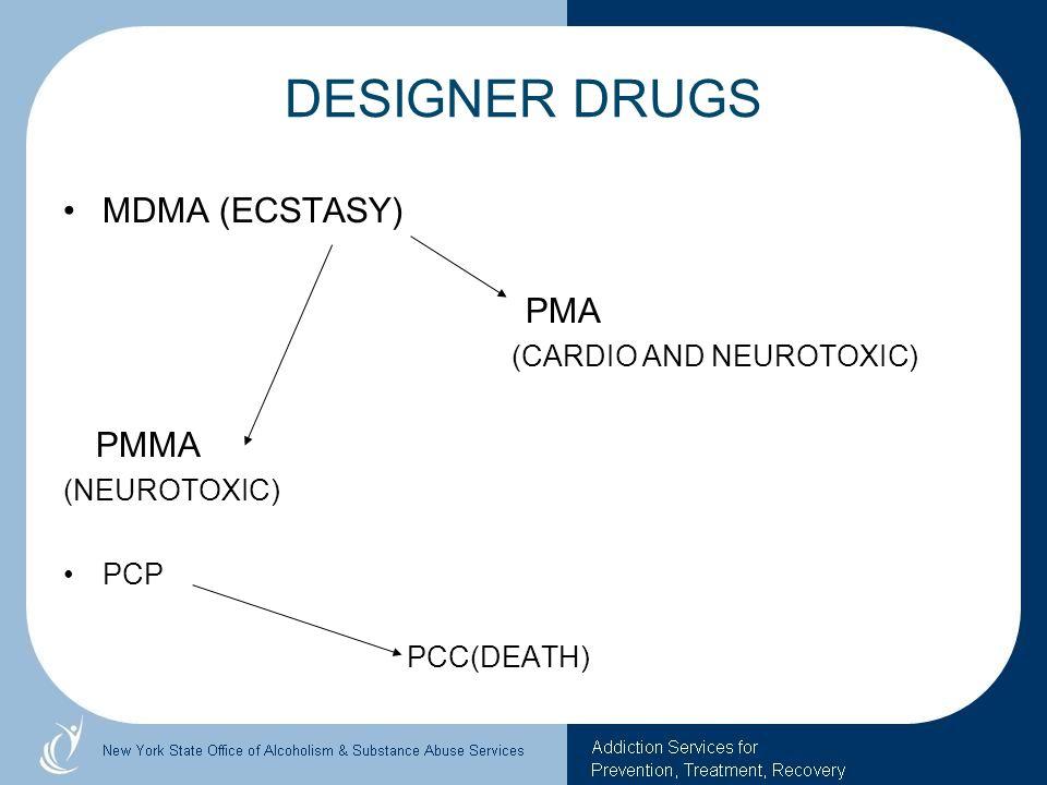 DESIGNER DRUGS MDMA (ECSTASY) PMA (CARDIO AND NEUROTOXIC) PMMA