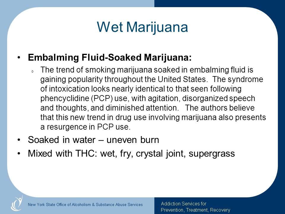 Wet Marijuana Embalming Fluid-Soaked Marijuana: