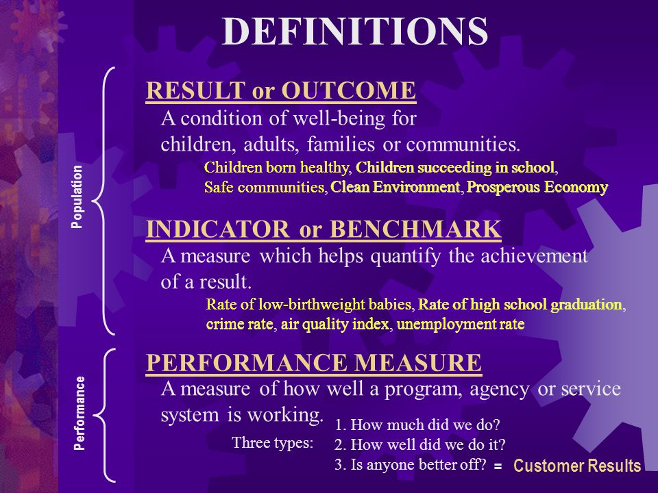 DEFINITIONS RESULT or OUTCOME INDICATOR or BENCHMARK
