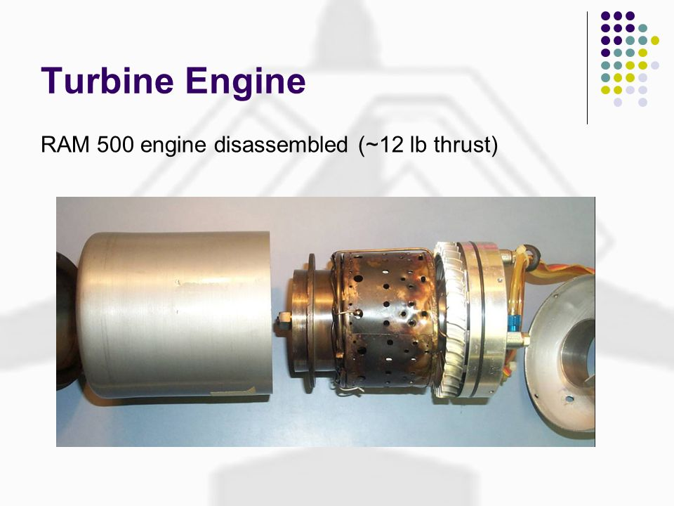 Turbine Engine RAM 500 engine disassembled (~12 lb thrust)