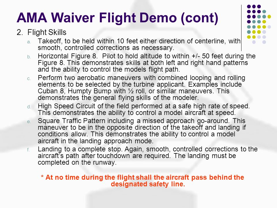 AMA Waiver Flight Demo (cont)
