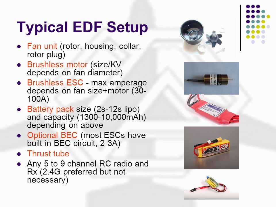 Typical EDF Setup Fan unit (rotor, housing, collar, rotor plug)