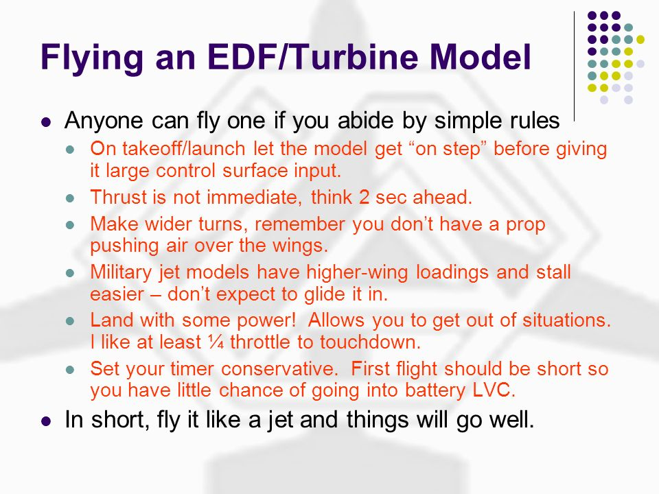 Flying an EDF/Turbine Model