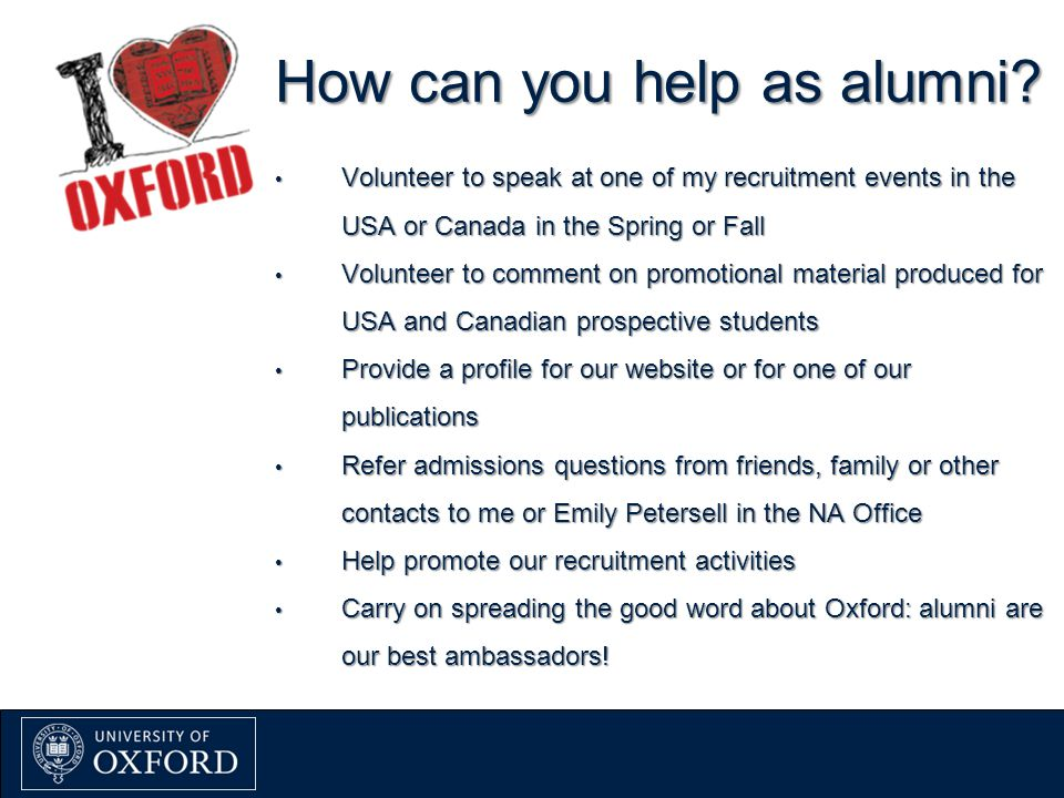 How can you help as alumni