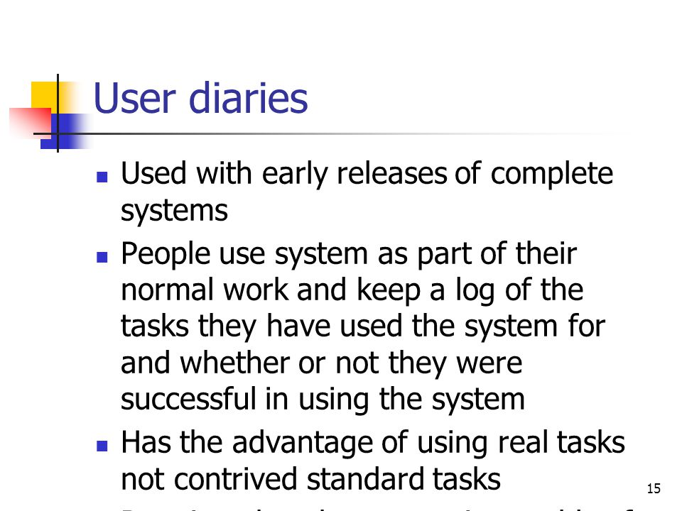 User diaries Used with early releases of complete systems