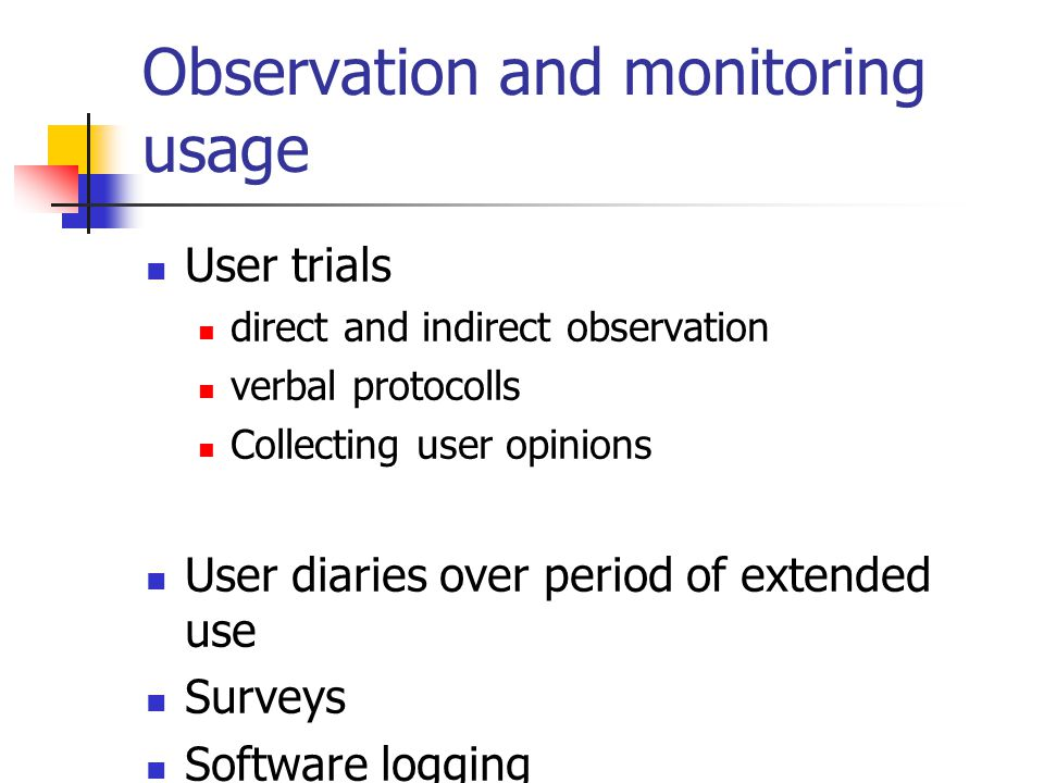 Observation and monitoring usage