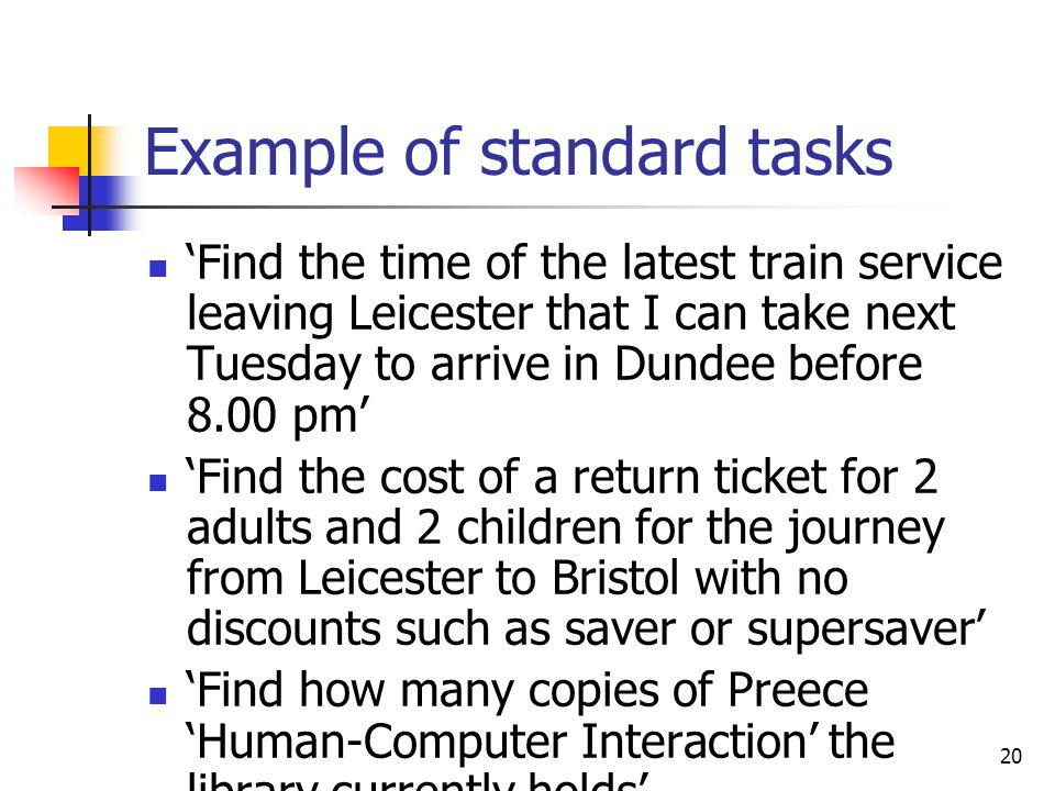 Example of standard tasks