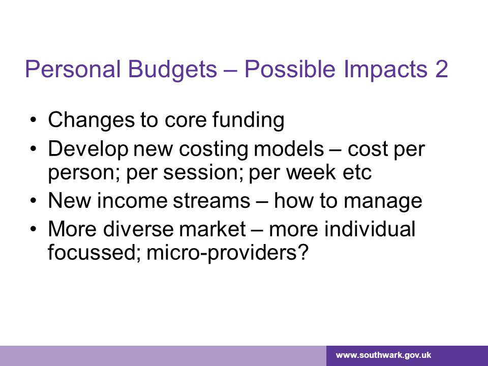 Personal Budgets – Possible Impacts 2