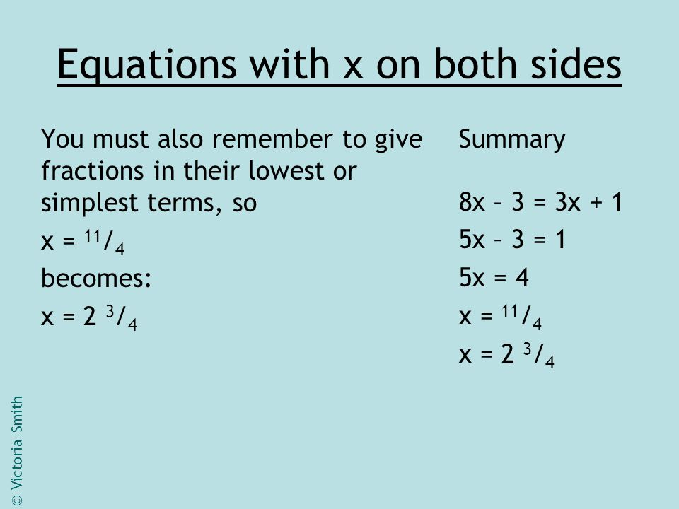 Equations with x on both sides