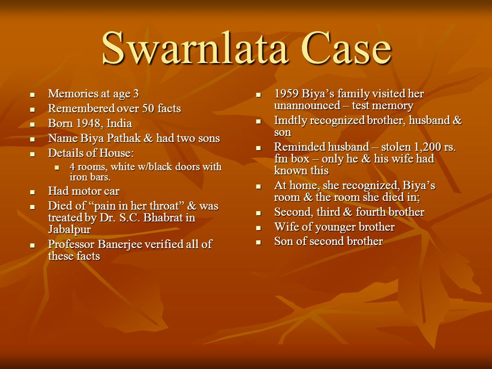 Swarnlata Case Memories at age 3 Remembered over 50 facts