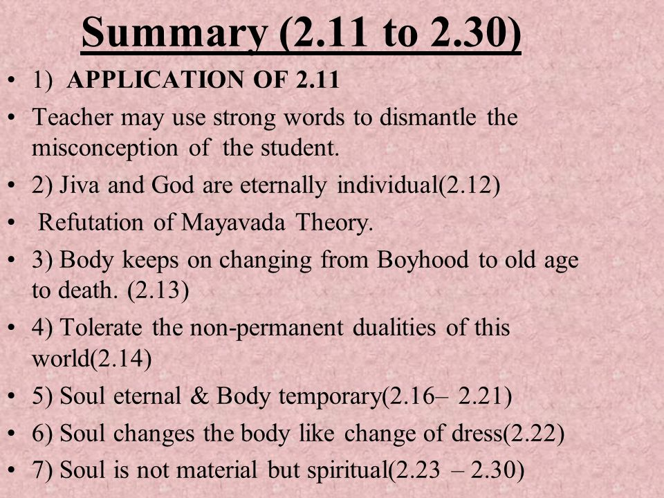 Summary (2.11 to 2.30) 1) APPLICATION OF 2.11