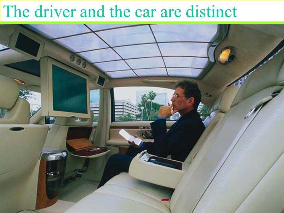 The driver and the car are distinct