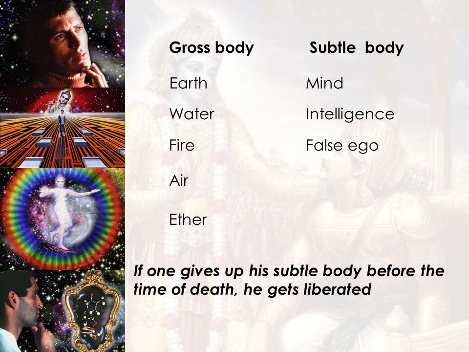 Earth Mind Gross body Subtle body Water Intelligence Fire False ego