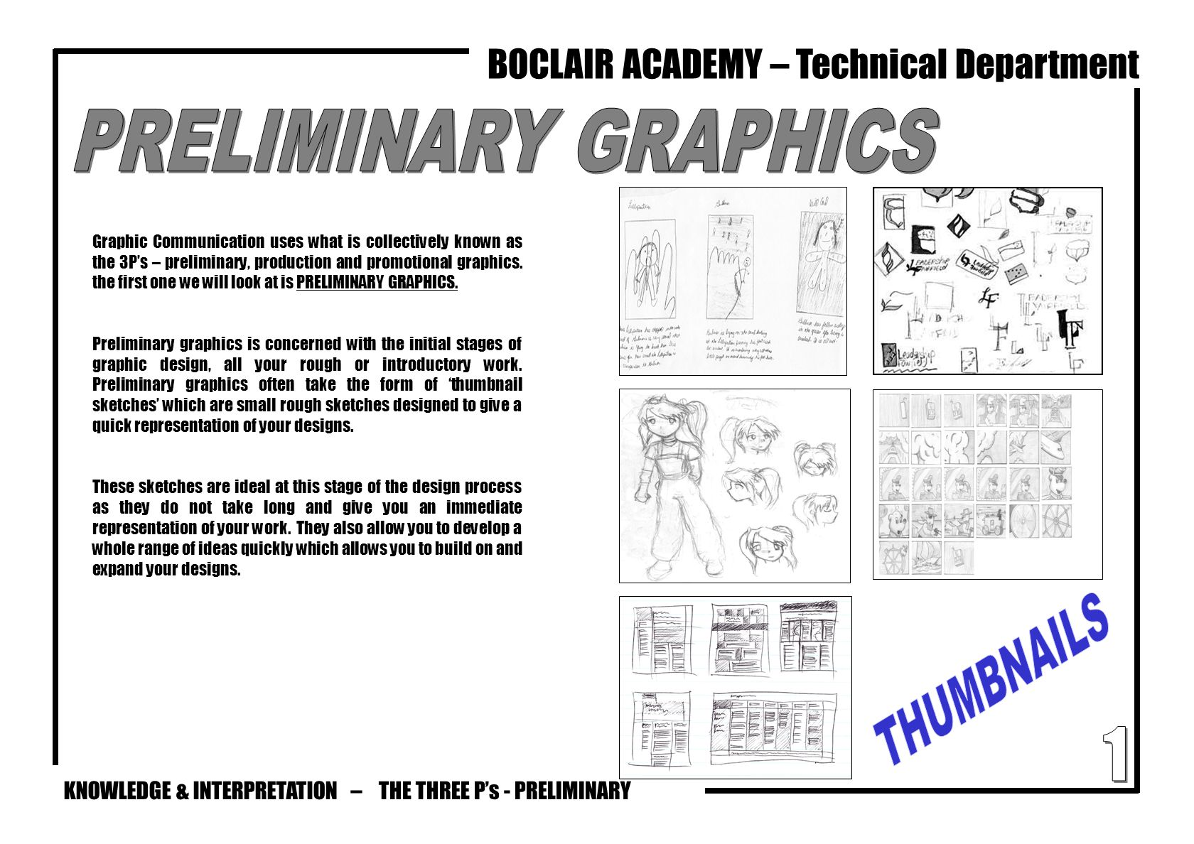 PRELIMINARY GRAPHICS THUMBNAILS 1 THE THREE P's - PRELIMINARY