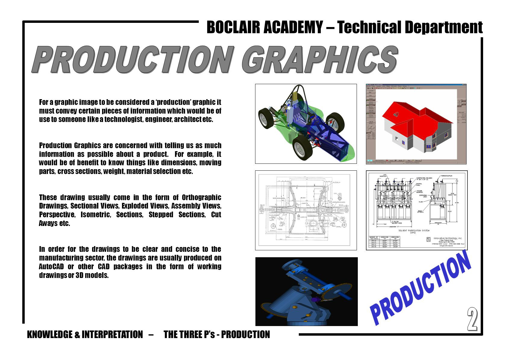 PRODUCTION GRAPHICS PRODUCTION 2 THE THREE P's - PRODUCTION