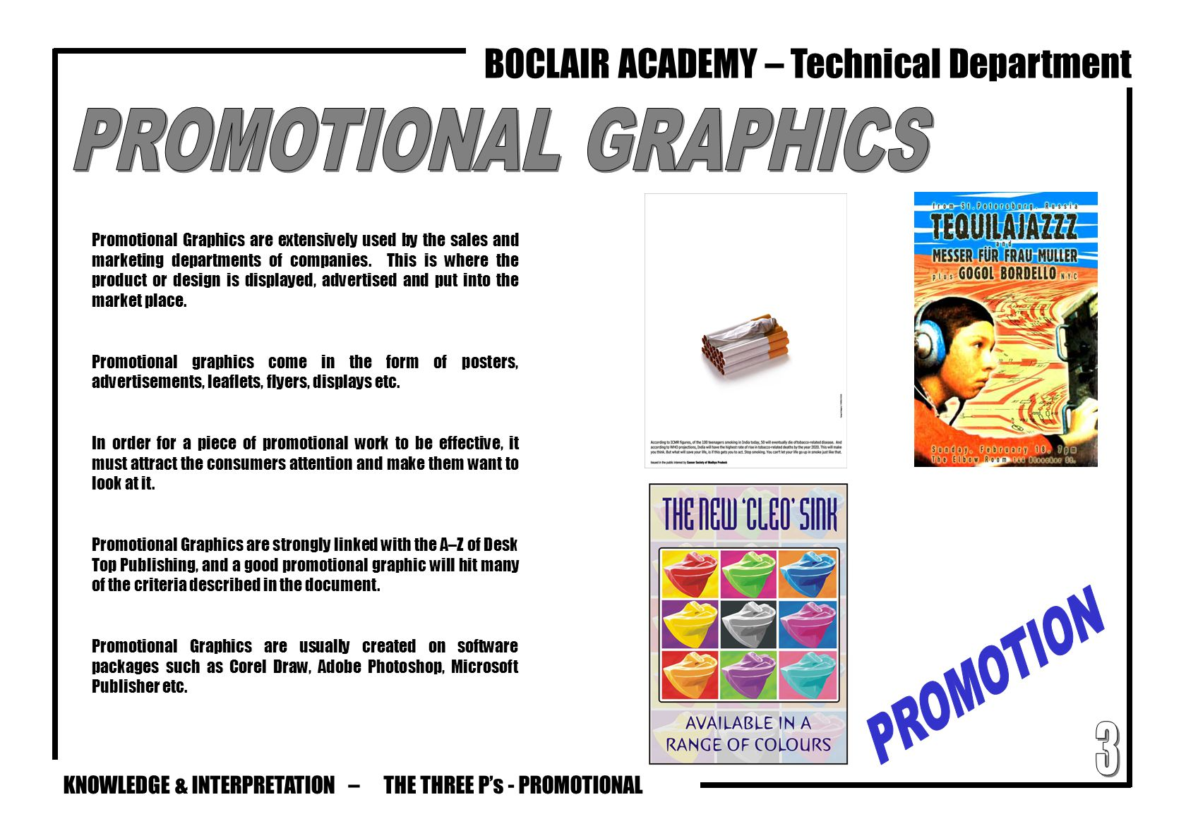 PROMOTIONAL GRAPHICS PROMOTION 3 THE THREE P's - PROMOTIONAL