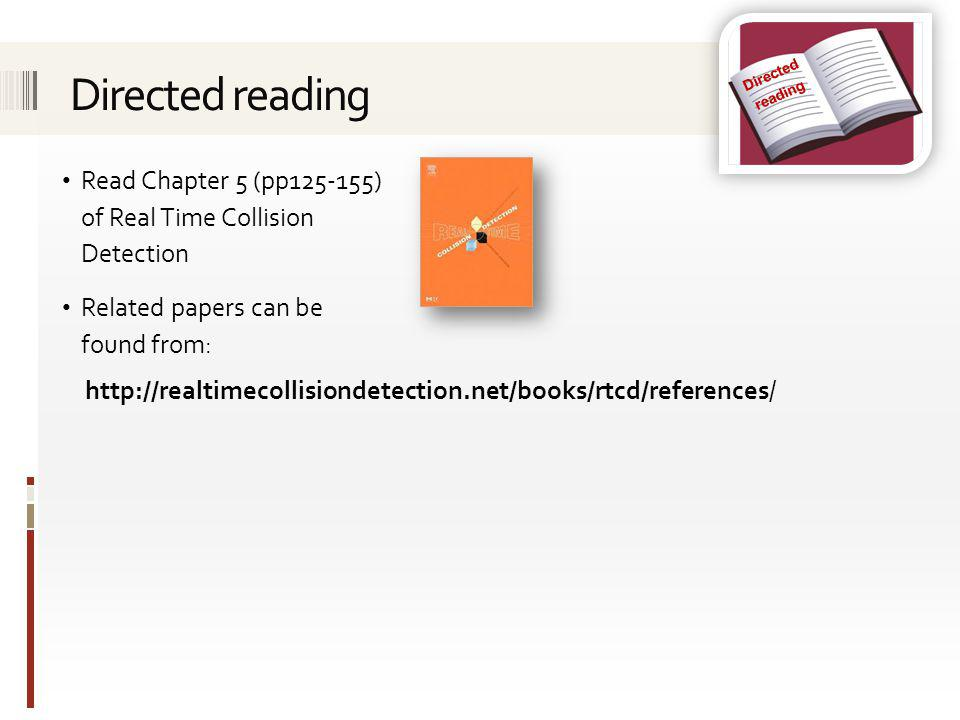Directed reading. Directed reading. Read Chapter 5 (pp125-155) of Real Time Collision Detection.