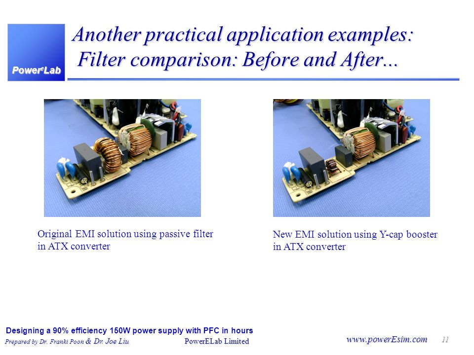 Another practical application examples: Filter comparison: Before and After...