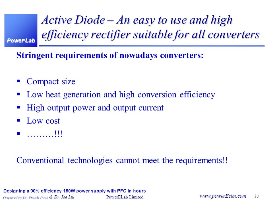 Active Diode – An easy to use and high efficiency rectifier suitable for all converters